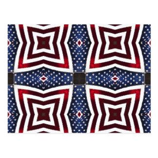 愛国心が強い星条旗の万華鏡のように千変万化するパターン ポストカード