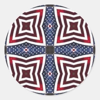愛国心が強い星条旗の万華鏡のように千変万化するパターン ラウンドシール