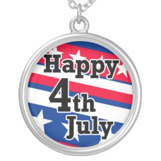 愛国心が強い星条旗の幸せな7月4日 シルバープレートネックレス