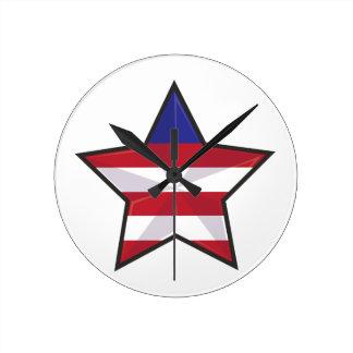 愛国心が強い星 ラウンド壁時計