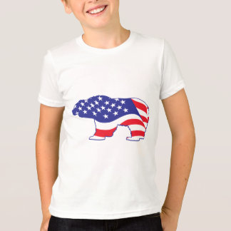 愛国心が強い灰色グマ Tシャツ