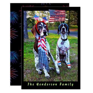 愛国心が強い犬及び花火の独立記念日カード カード