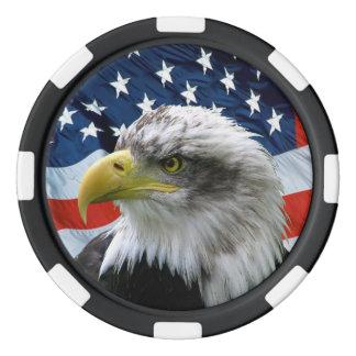 愛国心が強い白頭鷲および米国旗 ポーカーチップセット