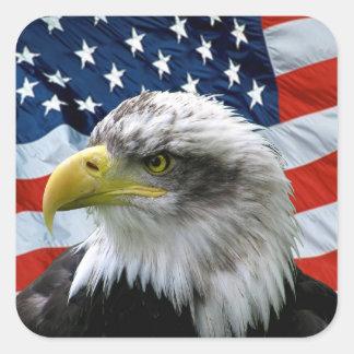 愛国心が強い白頭鷲の米国旗 スクエアシール