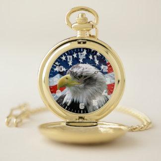 愛国心が強い白頭鷲の米国旗 ポケットウォッチ