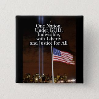 愛国心が強い神の愛国者日9/11の下の1つの国家 缶バッジ