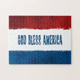愛国心が強い神はアメリカのパズルを賛美します ジグソーパズル
