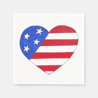 愛国心が強い米国の星のストライプなハートの米国旗 スタンダードカクテルナプキン