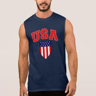 愛国心が強い米国の米国旗の盾 袖なしシャツ