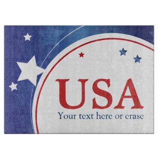 愛国心が強い米国の赤い白くおよび青 カッティングボード