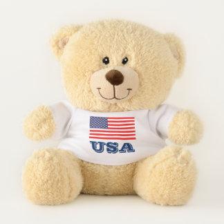 愛国心が強い米国は米国旗を持つテディー・ベアを自漫します テディベア