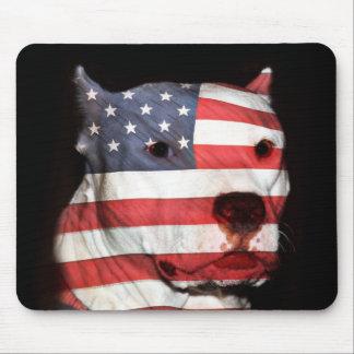 愛国心が強い米国旗のピットブル マウスパッド