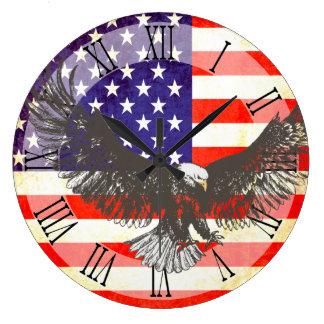 愛国心が強い米国旗のワシのローマの柱時計 ラージ壁時計