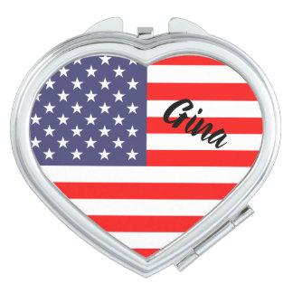 愛国心が強い米国旗の名前入りなハートの形