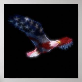 愛国心が強い米国旗の白頭鷲 ポスター