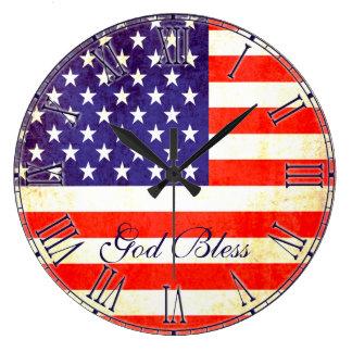 愛国心が強い米国旗の神は柱時計を賛美します ラージ壁時計