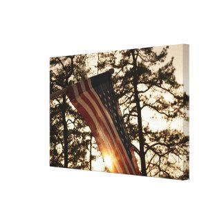愛国心が強い米国旗の落日 キャンバスプリント