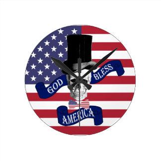 愛国心が強い米国旗 ラウンド壁時計