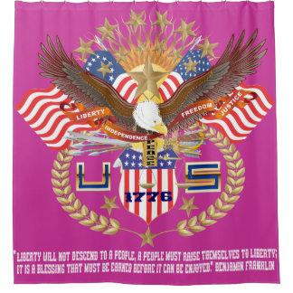 愛国心が強い自由のシャワー・カーテンの平和は上がりました シャワーカーテン