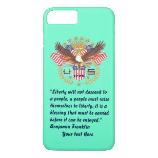 愛国心が強い自由の平和ターコイズ iPhone 8 PLUS/7 PLUSケース