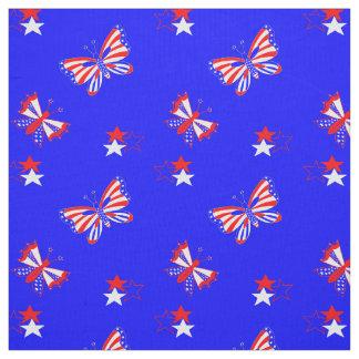 愛国心が強い蝶および星 ファブリック