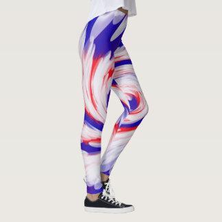 愛国心が強い赤白青の抽象デザイン レギンス