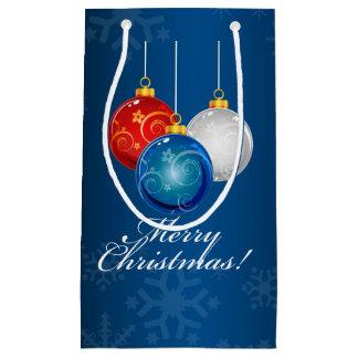 愛国心が強い赤白青はメリークリスマスを飾ります スモールペーパーバッグ