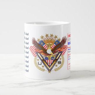 愛国心が強い退役軍人のデザインについてのジャンボマグの眺め ジャンボコーヒーマグカップ