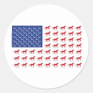 愛国心が強い馬の米国旗 ラウンドシール