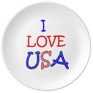 愛国心が強いI愛米国 磁器プレート