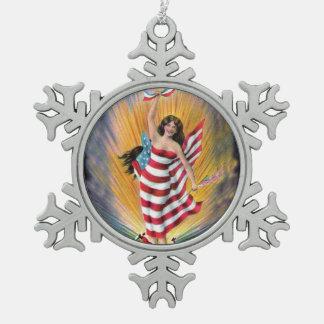 愛国心が強いLiberty米国失敗の女性旗の花火 スノーフレークピューターオーナメント
