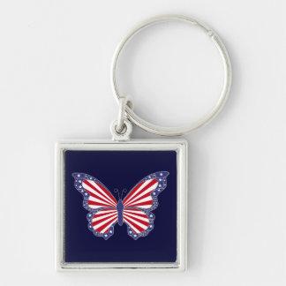 愛国心が強く赤い白くおよび青の蝶キーホルダー キーホルダー