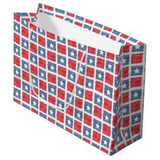 愛国心が強く赤く白くおよび青の水彩画 ラージペーパーバッグ
