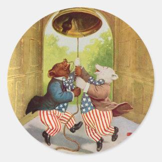 愛国者くまは自由の鐘鳴らします ラウンドシール