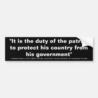 愛国者の引用文のトマス・ペインの義務 バンパーステッカー