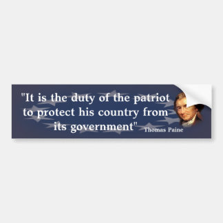 愛国者の義務のトマス・ペインの引用文 バンパーステッカー