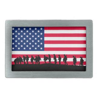 愛国者米国の兵士の旗のモチーフ 長方形ベルトバックル