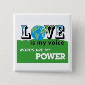 愛地球-愛は私の声ボタンです 5.1CM 正方形バッジ