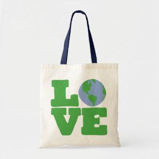 愛地球(緑の文字) トートバッグ