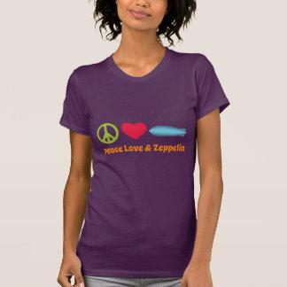 愛平和およびツェッペリン型飛行船のTシャツ Tシャツ