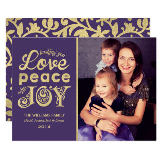 愛平和および喜び|の金ゴールドの休日の写真カード カード