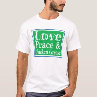 愛平和及び鶏のグリースメンズTシャツ Tシャツ