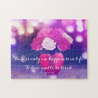 愛引用文のパズルが付いているハートのつぼのバラ ジグゾーパズル