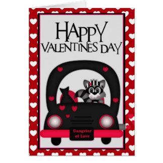 愛強盗の幸せなバレンタインのアライグマの挨拶状 カード