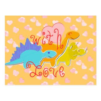 愛恋人の恐竜の郵便はがきを使って ポストカード