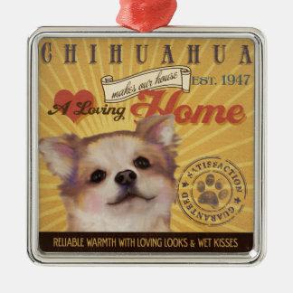 愛情のあるチワワは私達の家の家を作ります メタルオーナメント
