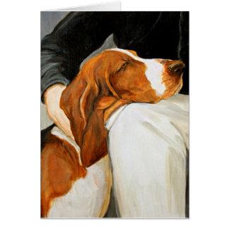 愛情のあるバセットハウンド犬の芸術の挨拶状 カード