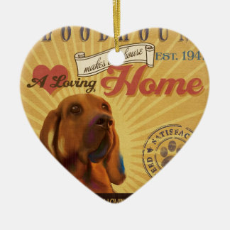 愛情のあるブラッドハウンドは私達の家の家を作ります 陶器製ハート型オーナメント