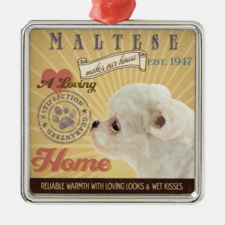 愛情のあるマルチーズは私達の家の家を作ります メタルオーナメント