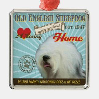 愛情のある古い英国の牧羊犬は私達の家の家を作ります メタルオーナメント